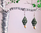 Picture Jasper and Olive Green Macramé Earrings