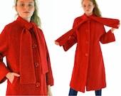 Vintage 50s Womens Wool Coat Cherry Red Boucle Trapeze Princess ASCOT TIE 3/4 Length Kimono Bell Sleeve Coat 1950s Mad Men Dress Coat  M