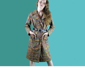60s Womens Coat Vintage 60s MOD COAT Double Breasted Dress Coat Gold Crest Buttons Woven Aztec Tribal Print Womens Vintage Dress Coat  S / M