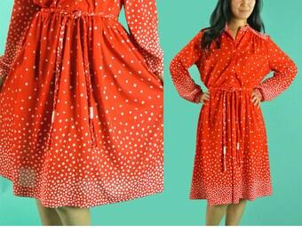 Vintage 80s Dress Sheer RED GEOMETRIC Retro Print Shirtwaist Dress Full Skirt Boho Secretary Dress Long Sleeve Button Front Day Dress S / M