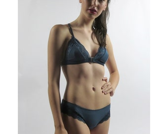 womens bamboo panties with lace trim  - GEM lingerie range - made to order