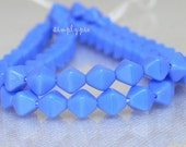 Periwinkle Blue Bicone, Czech Glass Beads 25 6mm