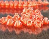 Pearl Orange Sherbet Flower Czech Glass Beads Baby Bell Cup 6mm 25