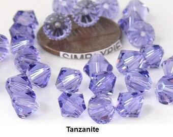 Tanzanite Swarovski Crystal Beads 6mm Bicone 10