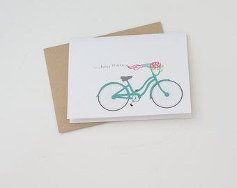 Adorable Blue Bicycle Hello Greeting Card