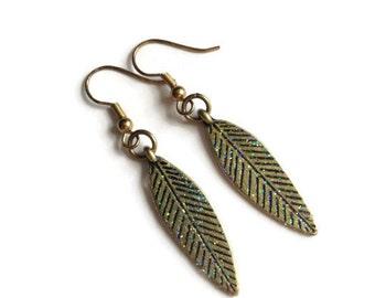 Feather Earrings, Dangle, Gold, Plume, Glaze, Bird, Flight, Southwest, American Indian, Glittery, Sparkle, Fleck, Rainbow, Light, Shimmer