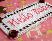 SALE!! 50% Off Original Price!! Handmade Hello Baby Pink and Brown Cross Stitch Card New Baby