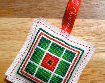 Rail Fences Handmade Cross Stitch Christmas Tree Holiday Ornament