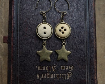 Vintage Bone Button & Brass Star Earrings - We Are All Made Of Star Stuff
