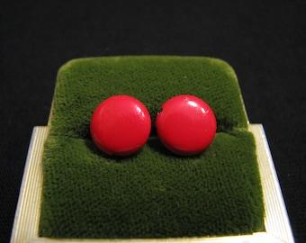 Vintage Round Red Metal Pierced Earrings