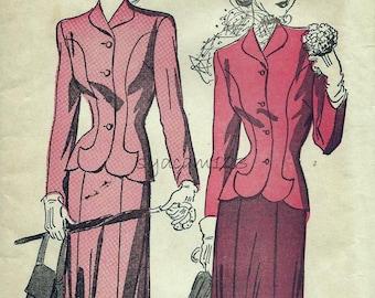Vintage 1940s Pattern Princess Seam Suit Shaped Hem Jacket Flared Skirt 1948 Advance 4868 Bust 32
