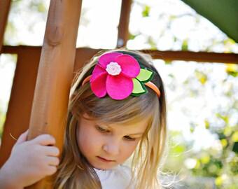 Hot Pink Petal Felt Flower with peach Headband