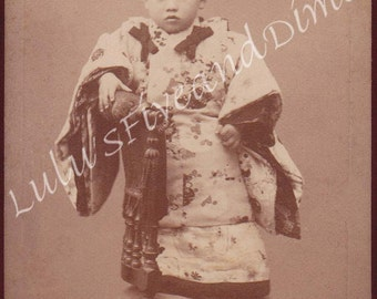 Adorable Japanese Child - Antique CDV from Japan  - Instant Download