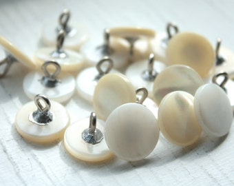 12 Vintage 1950s Mother of Pearl Metal Shank Buttons// 12mm // White Buttons// New Old Stock