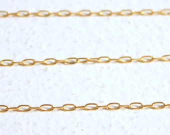 5 Feet 18K Gold over solid sterling / Rectangular Link Chain M/FRD040 // 3mmx1.5mm/solid sterling silver core.