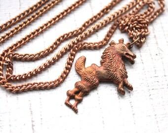"Handmade Wild Wolf Necklace // Vintage 1950s Brass Chain and Werewolf Pendant // 24"" Necklace"