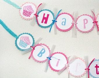 Pink Cupcake Birthday Banner - Pink, Aqua, Teal, Polka dotted cupcake