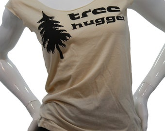 Tree Hugger T Shirt. Art by MATLEY. Sexy Soft Jersey top. American Apparel lightweight Low Scoop neck TShirt