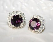 Amethyst Purple Swarovski Earrings, Silver Rhinestone Purple Stud Earrings,Amethyst Studs,Purple Wedding Statement Jewelry,Pendientes