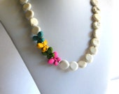 ON SALE, Colorful Butterfly Necklace, White Turquoise Necklace, Statement Necklace, Chunky Necklace, Howlite Coin Necklace
