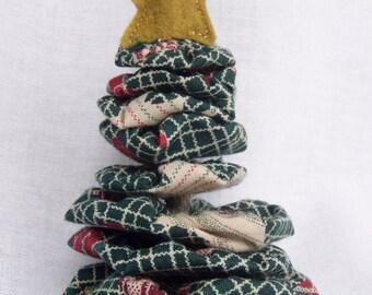 Christmas Tree Ornament Yo Yo with Star Gift Tag Primitive Handmade