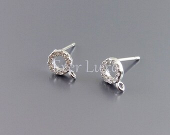 2 tiny circle CZ / Cubic Zirconia stud earrings, earrings, jewelry supplies, bridal wedding earrings 961-BR (bright silver, 2 pieces)