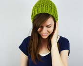 Hand Knit Slouchy Beanie Thick Texture Knit Hat Warm Winter Cap // The Barlin // Lemongrass // Ready to Ship
