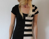 Half and Half dress with black and creme stripes