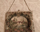 Vintage 1940s Walborg Made in France By Hand Petit Point Small Tapestry Purse