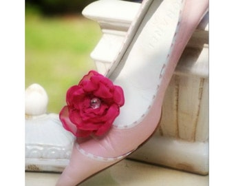 Fuchsia Rose Shoe Clips, Handmade stylish bride bridal bridesmaid, elegant delicate cottage chic gift, valentines day, rockabilly couture