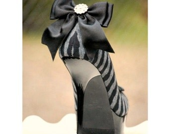 Shoe Clips Black Tie Affair Bow Rhinestone. MORE Ivory White Blue Hot Pink Teal Navy Blue Satin Ribbon. Night Couture, Big Day Bridal Bride