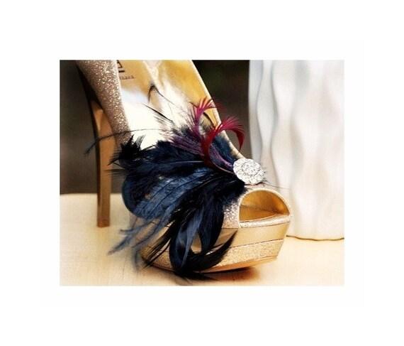 Shoe Clips Black Feathers Rhinestone. French Chic Bride Bridal Bridesmaid Couture Wedding. Lush Noir Extravagant Statement Boudoir Burlesque