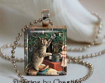 Cat Under a Christmas Tree Scrabble Necklace Pendant - Includes Chain