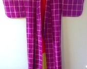 SALE 1960s MAGENTA Plaid MEISEN Kimono