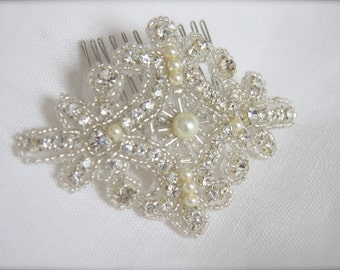 Bridal Comb Rhinestone Pearl Hair Accessory, Crystals Pearls Bridal Clip, Silver Beaded Sparkle Crest