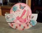 "Handmade Rocker Birthday Card - 7 1/4"" x 6 1/4"" - Glitter Embossed Pink Pumps Roses & Butterflies"
