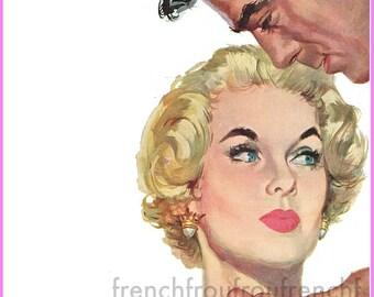 vintage mid century romance pinup illustration DIGITAL