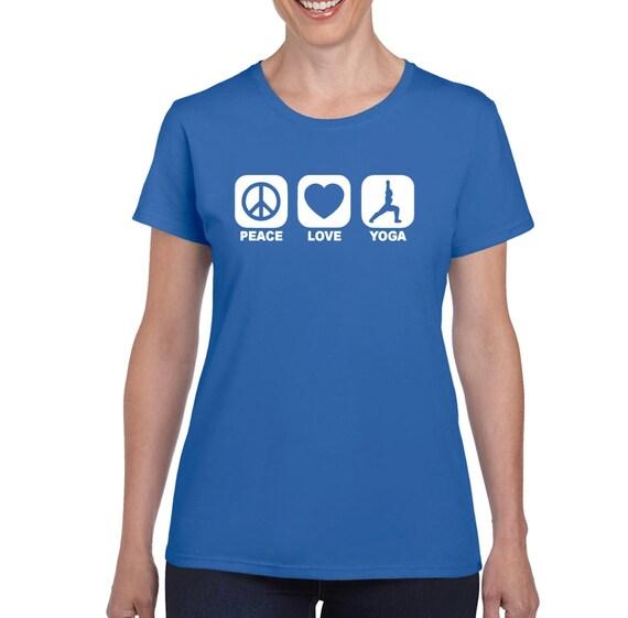 PEACE LOVE YOGA tshirt recycle meditation yoga college humor hip cool orange t shirt