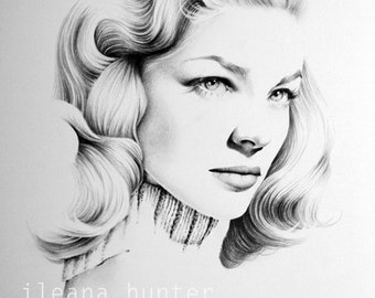 Lauren Bacall Pencil Drawing Portrait Fine Art Signed Print