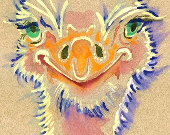 POSTER SIZED Ostrich Watercolor Painting Print, Artist-Signed