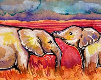 African Elephants Watercolor Painting Print, Artist-Signed