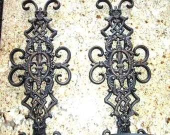 "Set of 2 Iron Fleur de Lis 20"" Wall Candle Holders - FREE USA SHIPPING - Sconces, Pillar Candle Holders, Old World, Tuscan, Hacienda"