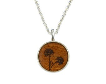 Dandelion Wood Pendant Necklace - Silver Dandilion Flower and Dark Wood Necklace - Gwen Delicious Jewelry Designs
