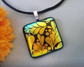 Fused Glass Pendant - Golden Branches -  Dichroic Jewelry - Dichroic Glass Pendant and  Necklace - 41-14