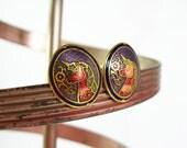 Purple Unicorn Earrings, Pink Unicorn Cloisonne Earrings, Mystical Jewelry, Pink Unicorn Pierced Earrings, Gold Unicorn Purple Earrings