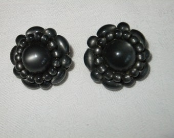 Vintage Earrings Clip On Round Gray Beads Plastic Retro Accessories Costume Jewelry Clips