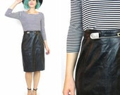 50% OFF SALE 80s Black Leather Pencil Skirt High Waisted Safety Pin Leather Skirt Avant Garde Punk Rock Paneled Leather Skirt (XS)