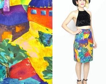 25% OFF SALE 80s Novelty Print Skirt Abstract Print Skirt 80s Pencil Skirt Watercolor Painting High Waist Skirt Houses Artsy Mini Skirt (M)