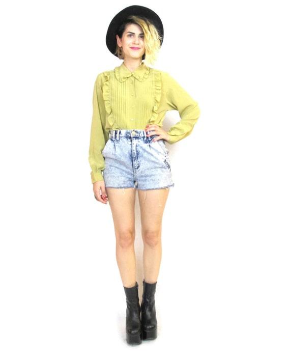 50% OFF SALE 80s Tuxedo Ruffle Blouse Pleated Secretary Blouse Womens Yellow Long Sleeve Fancy Shirt (S/M)