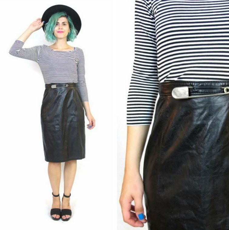 50 sale 80s black leather pencil skirt high by